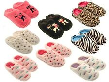 FUR LINED WOMENS SLIPPERS SLIP ONS MULES CUSHIONED SOLES WARM SOFT LADIES 3 -8