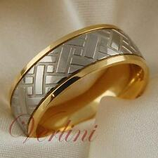 Titanium Men's Ring 14k Gold Wedding Band Tire Design Size 6-13