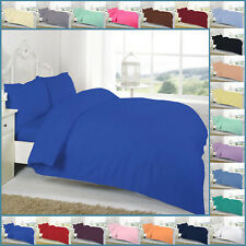 Plain Dyed Duvet/Quilt Cover Set With Pillow Cases, 20 Colours, 4 Sizes