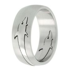 8mm Stainless Steel Dolphin Design Domed Wedding Band Ring