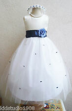 NEW IVORY/NAVY BLUE INFANT RECITAL FLOWER GIRL DRESS S M L XL 2 4 6 8 10 12 14