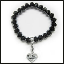 Black Crystal Clip On Charm Bead Bracelet Aunt Friend Goddaughter Mother Or Nana