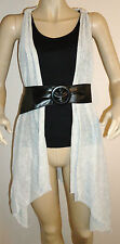 NEW LADIES GREY/BLACK LILI KNITTED CARDIGAN & VEST TOP WITH BELT SIZE 10-12