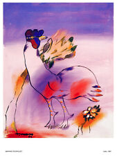 Decor Poster. Fine Graphic Art. Windy Rooster drawing. Home Wall Design 1329