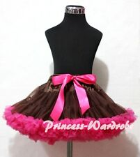 Brown Hot Pink FULL Pettiskirt Skirt Petti Dance Tutu Dress Kid Girl For 1-8Year