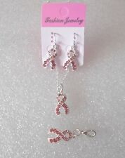 PINK CRYSTAL RIBBON CHARM JEWELLERY:  BREAST CANCER AWARENESS