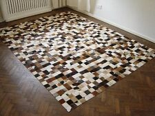 NEW COWHIDE PATCHWORK RUG LEATHER CARPET cu_515