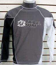 MENS SPF 50 SURF SHIRT RASH GUARD LONG SLEEVE SMALL THRU 2XL RGMLS GREY/ BLACK