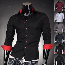 JS Mens Designer Cross Line Slim Dress Shirts Tops Western Casual S M L XL J2028