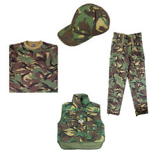 Kids Soldier Army Body Warmer Trousers T-Shirt Cap Dress Up Outfit Costume