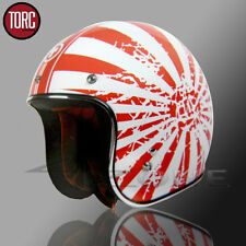 TORC 3/4 OPEN FACE RETRO VINTAGE MOTORCYCLE SCOOTER HELMET RED WHITE JAPANESE