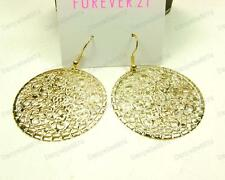 BOHO STYLE ornate FILIGREE drop EARRINGS gold/silver round hoop cut out disc