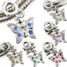 Lot 6pcs Silver Cz Butterfly Dangle European Spacer Charm Bead For Bracelet