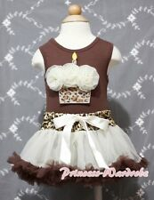 Newborn Baby Leopard Waist Pettiskirt Leopard Birthday Cake Brown Top Set 3-12m
