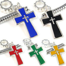 Wholesale Lot 5pcs Silver Cross European Spacer Charm Bead For Bracelet Necklace