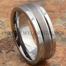 Mens Tungsten Ring Infinity Wedding Band Bridal Jewelry Titanium Color Size 6-13
