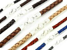 MENS LEATHER NECKLACE-5mm BRAIDED LEATHER-925 STERLING SILVER ENDS & CLASP