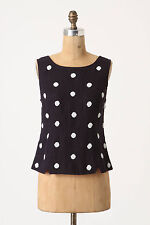 Anthropologie Ivory Dotted Shell Sz 6, Navy Blue Linen Beaded Tank Top By Odille