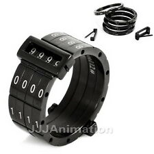 US Size 7,8,9,10,11,12,13 Black Password Stainless Steel Men Rings VE398-1