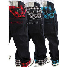 DIRTY MONEY SCOTTISH CHECK JEANS  RAW PLAID KARO LOOSE FIT HIP HOP BLUE  HOSE