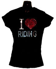 I LOVE RIDING LADIES FITTED T SHIRT WITH RHINESTUD DESIGN (any size 8 to 18)