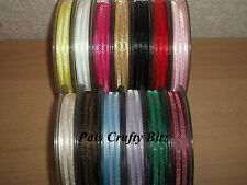 5m Berisfords Mystery Organza & Satin Ribbon 10mm Various Colours