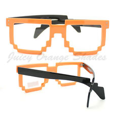 2-Tone PIXEL CLEAR Glasses Retro PARTY RAVER Novelty Nerd Geek GAMER More Colors