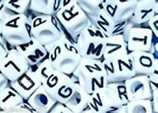 500 pcs 6mm white cube alphabet single letter beads choice of  A - Z