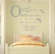 Personalised Name, Once Upon a Time Princess - Wall Art Sticker, Girls Bedroom