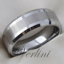 Men's Tungsten Carbide Wedding Band Ring Bridal Jewelry Titanium Color Size 6-13