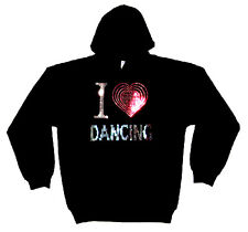 I LOVE DANCING HEAVYWEIGHT RHINESTUD HOODY  HOODIES(any size)
