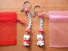 HELLO KITTY PERSONALISED KEYRING ~ SCHOOL BAG NAME TAG CHARM ~ RED & PINK