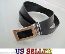 Adjustable New Men's Auto Lock Buckle Black Dress Leather Belts, ID: d.g a.45