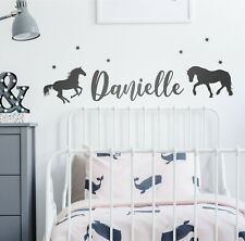 PERSONALISED HORSE NAME wall sticker with stars - cute, bedroom, girls cute - N4