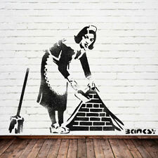 Stencils Huge Banksy sweeping maid stencil, reusable wall stencil, not a decal