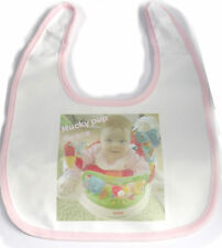 baby bib personalised with any image/text - pink or blue trim soft microfibre