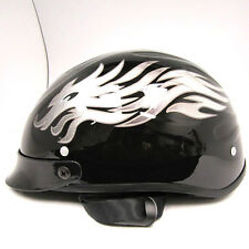 New Motorcycle Scooter Half Face Helmet Silver Dragon Black Size S M L XL Vespa