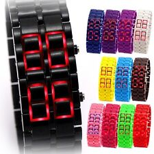 Lava Wrist Watch RED LED CALENDAR DATE Faceless Bracelet Men Women Lady 13 Color