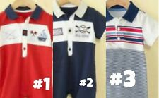 * NEW BOYS 1PC First Impressions Sunsuit POLO Romper SUMMER OUTFIT 3m 3/6m 6/9m
