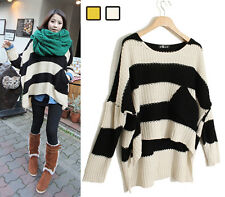 Womens Loose Wide Stripes Bat Sleeve Irregular Hem Sweaters Knitting Tops 0854#