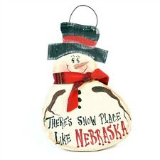 """Customizable """"There's Snow Place Like ..."""" Wooden Hand Painted Snowman Sign"""