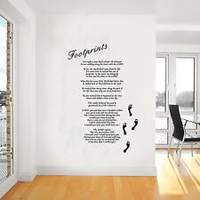 Footprints in the Sand Giant Wall Art, Poem, Decal, Mural,Stickers,WA257