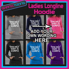 THE ONLY WAY IS PERSONALISED HEN PARTY NIGHT TOWIE ESSEX LADIES  LONGLINE HOODIE