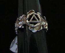 "Sterling Silver Alcoholics Anonymous 3/8"" Leaf Cut  AA Symbol Ring Recovery"