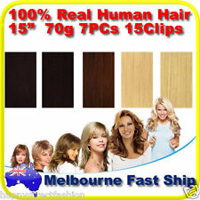 """Clip in REMY Real Human Hair Extensions 15"""" 70g 7PCs on Black Brown Blonde"""