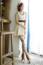 Sheer Spandex Pantyhose with Swallow Tattoo Print Petite Size Nude One Size