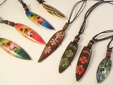 Surf style pendant necklace wood or shell surfboard mens ladies surfer