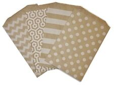 White on Brown Medium Size Food Safe Flat Paper Craft Favor Bags - pk of 10