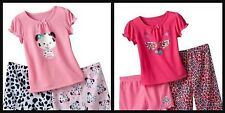 * NWT NEW GIRLS 3PC Puppy DOG KITTY CAT SUMMER PAJAMAS SET 12M 18M
