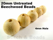 20mm Natural Wooden Beads Round Untreated Wood Balls 4mm Hole 100% Beechwood